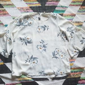 Flowered Blouse with Bell Sleeves